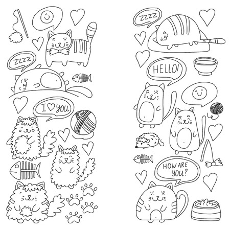 Cute doodle pattern of cats