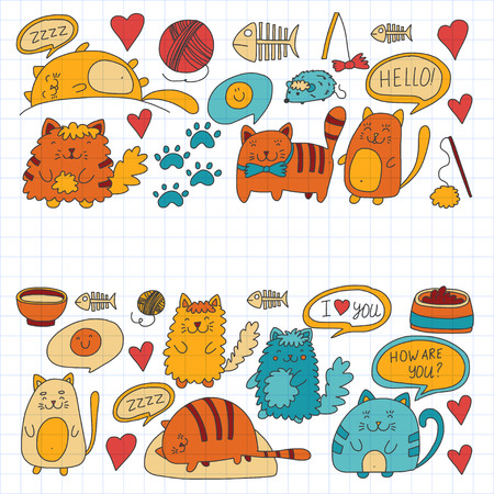 Cute doodle cats, kitty Domestic cats Vector sets with cute kittens for pet shop, cattery, veterinary clinic Doodle pattern for banner, poster, textile Children kids drawing for kindergarten