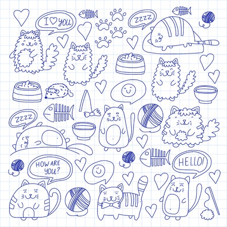 Cute kittens Cat icons Kids drawing Children drawing Doodle domestic cat for veterinary, cattery, zoo, kindergarten, pre-school Cats nursery