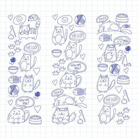かわいい子猫猫アイコン子供図面描く落書き国内猫獣医、キャッテリー、動物園、幼稚園、小学校就学前の猫の保育園の  イラスト・ベクター素材
