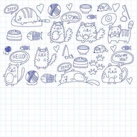 Niedliche Kätzchen Katzensymbole Kinderzeichnung Kinderzeichnung Doodle Hauskatze für Tierarzt, Zwinger, Zoo, Kindergarten, Vorschule Katzenkindergarten Standard-Bild - 85064563