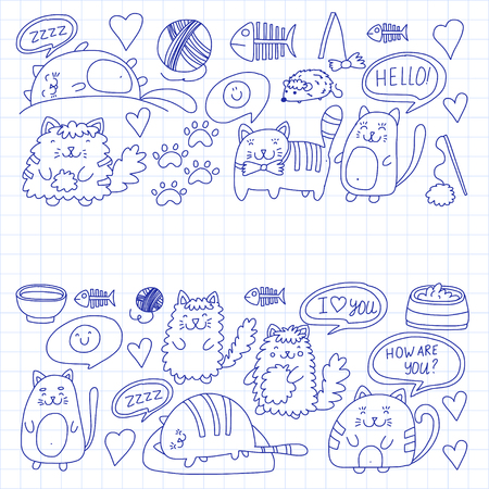 Cute kittens Cat icons Kids drawing Children drawing Doodle domestic cat for veterinary, cattery, zoo, pre-school Cats nursery