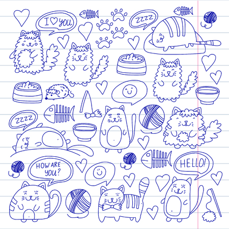 Cats vector Domestic cute kittens Japanese style Cartoon cat playing Illustration for pet shop.