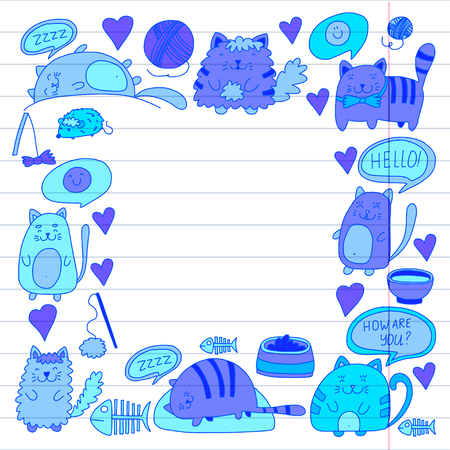 Cats vector Domestic cute kawaii kittens Japanese kawaii style Cartoon cats playing Illustratrion for pet shop, veterinary, cattery, wallpaper, kindergarten Kids drawing Children drawing style Ilustração
