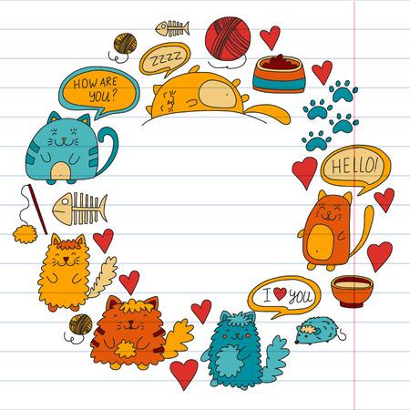 Katten vector Binnenlandse schattige kawaii kittens Japanse kawaii-stijl Cartoon katten spelen Illustratrion voor dierenwinkel, veterinaire, cattery, behang, kleuterschool Kinderen tekenen Kinderen tekenen stijl
