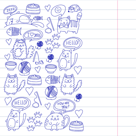 Collection of cartoon cat playing illustration for pet shop, veterinary, wallpaper