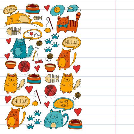 Sammlung der Karikaturkatze Illustration für Geschäft für Haustiere, Veterinär, Tapete spielend Standard-Bild - 85066417