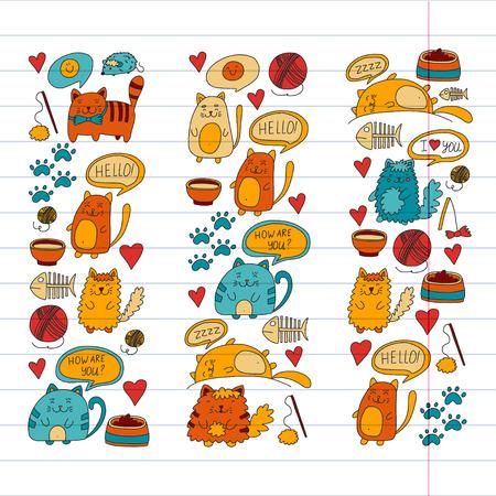 Katzen-Vektor Inländische süße Kätzchen Japanische Art Cartoon-Katze spielen Illustration für Zoohandlung. Standard-Bild - 85064880