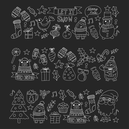 Christmas Xmas New year Christmas icons for backgrounds, decoration, patterns, cards, ornaments Doodle christmas tree with light and balls New year celebration and party with bear and Santa Claus
