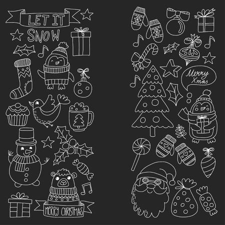 Kerst Xmas Nieuwjaar Kerst iconen voor achtergronden, decoratie, patronen, kaarten, ornamenten Doodle kerstboom met licht en ballen Nieuwjaarsfeest en feest met beer en de Kerstman Stock Illustratie