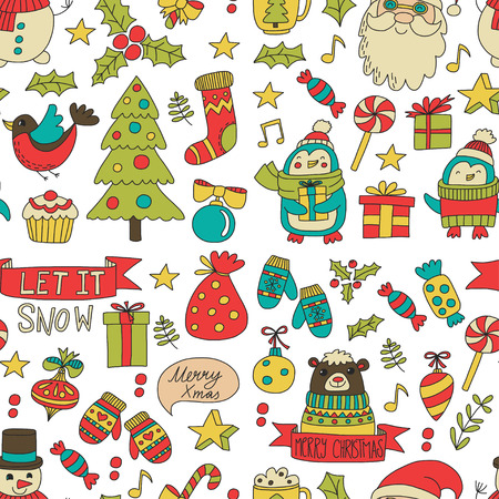 Christmas Xmas New year Christmas icons for backgrounds, decoration, patterns, cards, ornaments Doodle christmas tree with lights and balls New year celebration and party with bear and Santa Claus Ilustracja