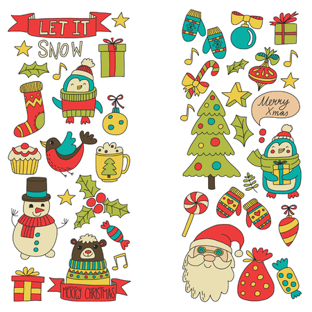 Christmas Xmas New year Christmas icons for backgrounds, decoration, patterns, cards, ornaments Doodle christmas tree with lights and balls New year celebration and party with bear and Santa Claus Illustration