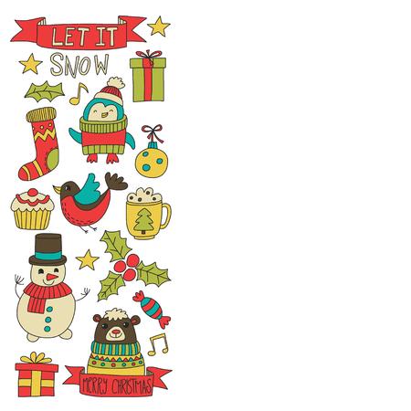 Kerst Xmas Nieuwjaar Kerst iconen voor achtergronden, decoratie, patronen, kaarten, ornamenten Doodle kerstboom met lichten en ballen Nieuwjaar viering en feest met beer en de Kerstman Stockfoto - 85067252