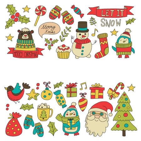 Kerst Xmas Nieuwjaar Kerst iconen voor achtergronden, decoratie, patronen, kaarten, ornamenten Doodle kerstboom met lichten en ballen Nieuwjaar viering en feest met beer en de Kerstman Stock Illustratie