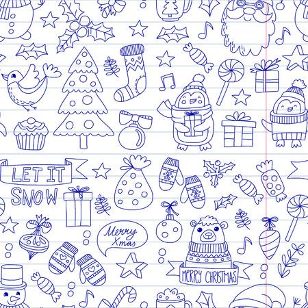 Christmas Xmas New year Vector doodle set van iconen met de kerstman, penguin, sneeuwpop, beer, cadeautjes, kerst decoratie Stockfoto - 85213433