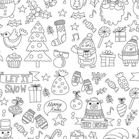 Christmas Xmas New year Vector doodle set van pictogrammen met de kerstman, penguin, sneeuwman, beer, cadeautjes, kerst decoratie Naadloze patroon