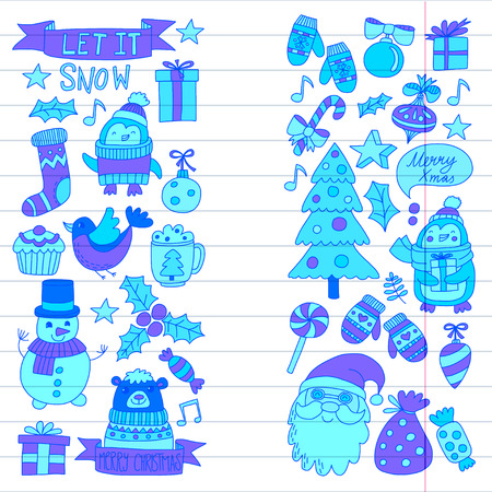 Christmas Xmas New year Vector doodle set of icons with Santa Claus, penguin, snowman, bear, presents, christmas decoration