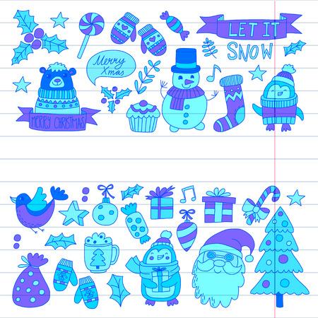 Christmas Xmas New year Vector doodle set van iconen met de kerstman, penguin, sneeuwpop, beer, cadeautjes, kerst decoratie
