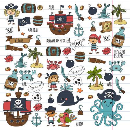 海賊のスタイルで子供のパーティーのために描いている子供たち。 写真素材 - 85437261