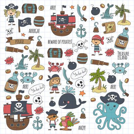 Kinderen tekenen voor kinderen feest in piraat stijl. Stock Illustratie