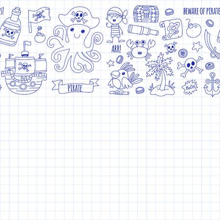 Vector seamless pattern Pirate party for children Kindergarten Enfant enfants illustration dessin dessin Picutre avec pirate, baleine, île du trésor, carte du trésor, crânes, drapeau, bateau Fête d'anniversaire Banque d'images - 85623182