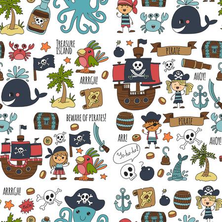 Vector seamless pattern Partito di pirata per bambini Kindergarten Bambini bambini disegno illustrazione di stile Picutre con pirata, balena, tesoro isola, mappa del tesoro, teschi, bandiera, nave Festa di compleanno Archivio Fotografico - 85623185
