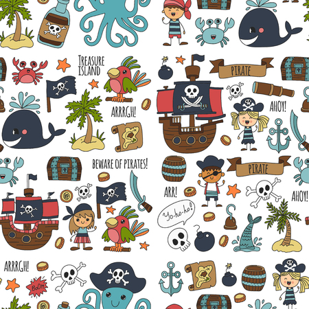 Vector seamless pattern Pirate party for children Kindergarten Kids children drawing style illustration Picutre with pirate, whale, treasure island, treasure map, skulls, flag, ship Birthday party