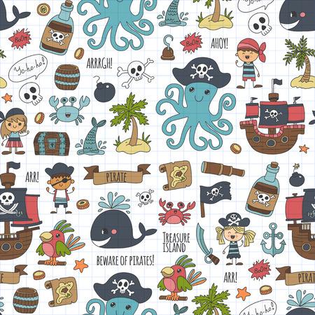 Vector naadloze patroon Piraat feest voor kinderen Kleuterschool Kinderen kinderen tekening stijl illustratie Picutre met piraat, walvis, schat eiland, schatkaart, schedels, vlag, schip Verjaardagspartij