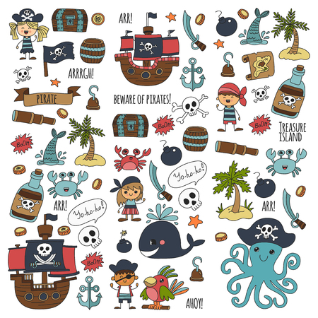 Pirate party pattern for kids drawing style illustration.