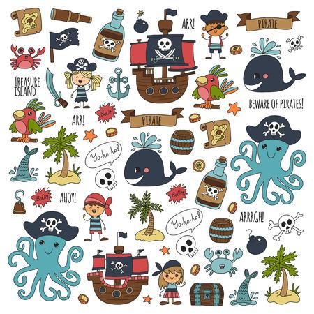 Patrón transparente de vector Fiesta pirata para niños Kindergarten Niños niños dibujo estilo ilustración Picutre con pirata, ballena, isla del tesoro, mapa del tesoro, calaveras, bandera, barco Fiesta de cumpleaños