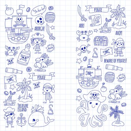 Vector Piraat feest voor kinderen Kleuterschool Kinderen kinderen tekenen stijl illustratie Picutre met piraat, walvis, schat eiland, schatkaart, schedels, vlag, schip Verjaardagspartij