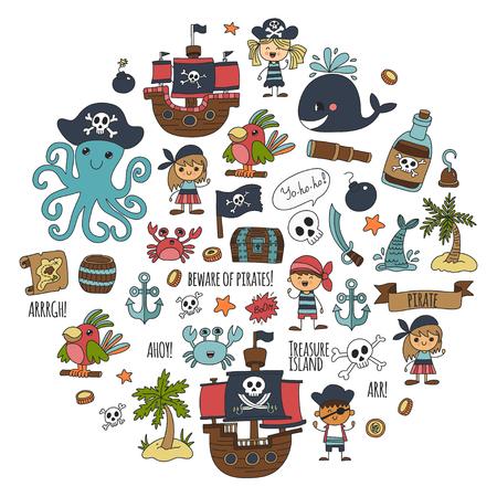 Pirate party patroon voor kids tekening stijl illustratie. Stockfoto - 85576753