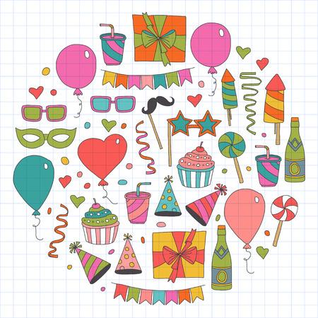 Elementos de design da festa de aniversário Foto de archivo - 85660467