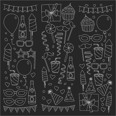 Happy Birthday card template. Kids drawing Children party Wedding party Birthday invitation 向量圖像