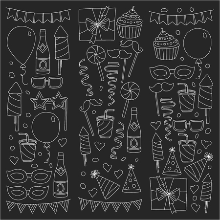 Happy Birthday card template. Kids drawing Children party Wedding party Birthday invitation Illustration
