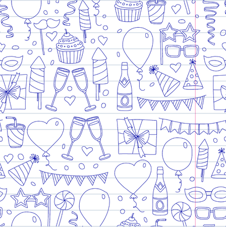 Kids party Children drawing Birthday party with balloons, mask, gifts, food, cupcakes Doodle set with vector icons Illustration