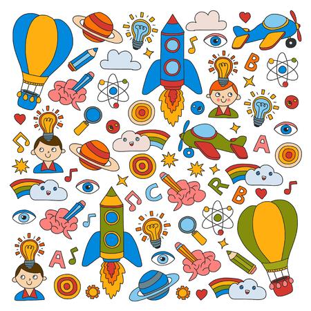 Knowledge Imagination Fantasy Kids drawing style Creative education concept Kindergarten School Pre-school Nurcery