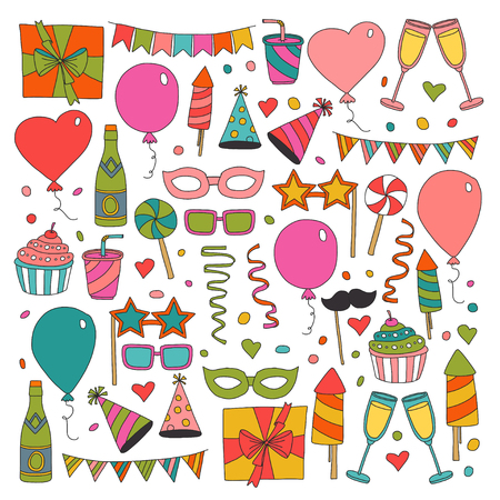 Happy Birthday card template. Kids drawing Children party Wedding party Birthday invitation  イラスト・ベクター素材