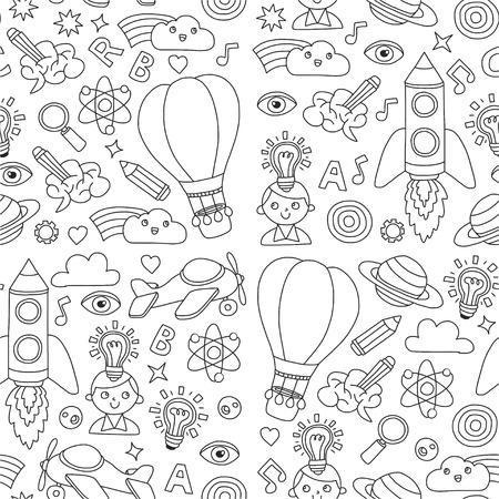 Seamless pattern Knowledge Imagination Fantasy Kids drawing style Creative education concept Kindergarten School Pre-school Nurcery