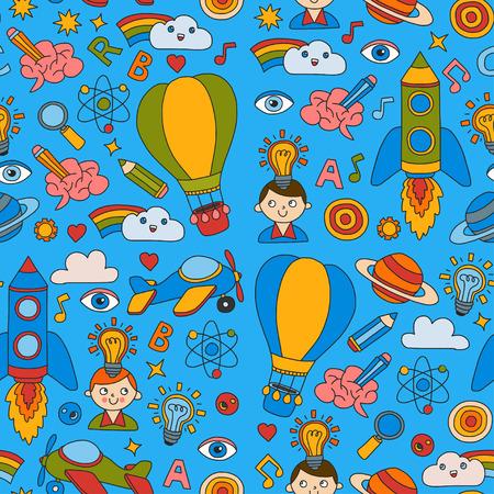 Seamless pattern Conocimiento Imaginación Fantasía Niños dibujo estilo Concepto de educación creativa Jardín de infantes Escuela Preescolar Nurcery Foto de archivo - 85697145
