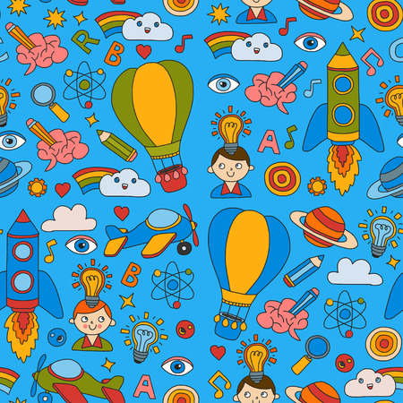 Seamless pattern Knowledge Imagination Fantasy Kids drawing style Creative education concept Kindergarten School Pre-school Nurcery