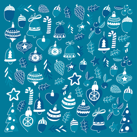 Blue christmas patterns with christmas bells, snowflakes, candy Holly jolly Merry Christmas and Happy New Year. Stock Vector - 85817754
