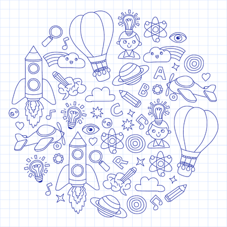 Set of doodle icons Notepad checked paper - creativity and inspiration, ideas and imagination, innovation and discovery, think outside the box.