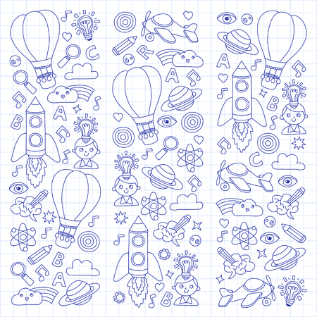 Vector set of doodle icons Notepad checked paper - creativity and inspiration, ideas and imagination, innovation and discovery, think outside the box Reklamní fotografie - 85817764