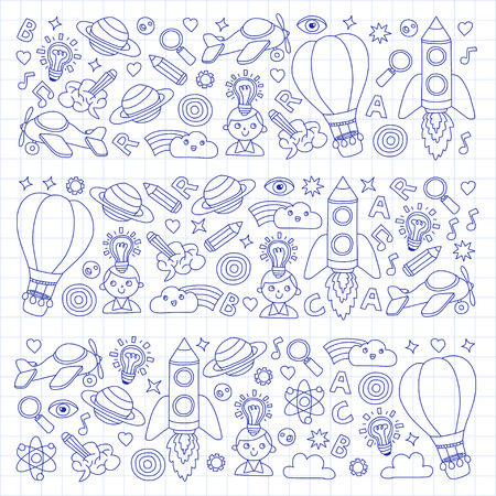 Vector set of doodle icons Notepad checked paper - creativity and inspiration, ideas and imagination, innovation and discovery, think outside the box