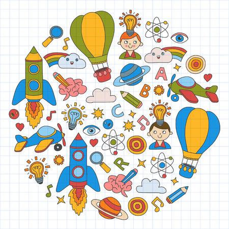 Kleurrijke banners Vector set doodle pictogrammen op de volgende thema's - creativiteit en inspiratie, ideeën en verbeelding, innovatie en ontdekking, denk buiten de doos