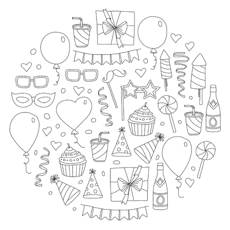 Set of birthday party design elements. Kids drawing. Doodle icons Colorful balloons, flags, confetti, cupcake, gifts, candles, bows and decorative ribbons. Vector illustration