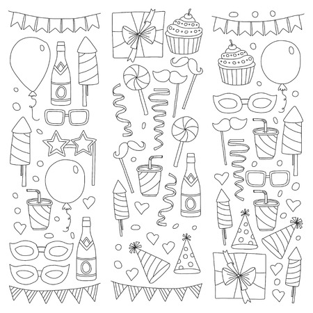 Set of birthday party design elements. Kids drawing. Doodle icons Colorful balloons, flags, confetti, cupcake, gifts, candles, bows and decorative ribbons. Vector illustration Reklamní fotografie - 85817777