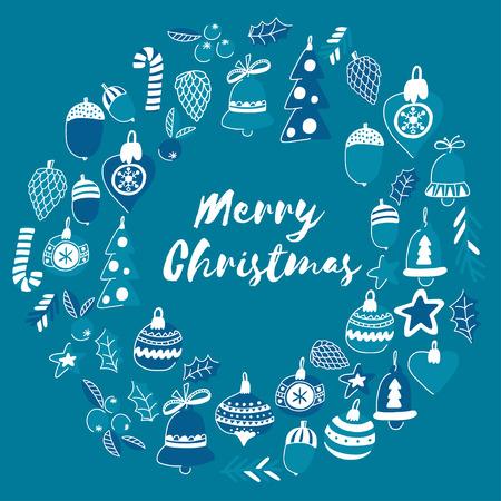 블루 크리스마스 패턴 크리스마스 종소리, 눈송이, 사탕 홀리 유쾌한 기쁜 성 탄과 새 해 복 많이 받으세요 일러스트