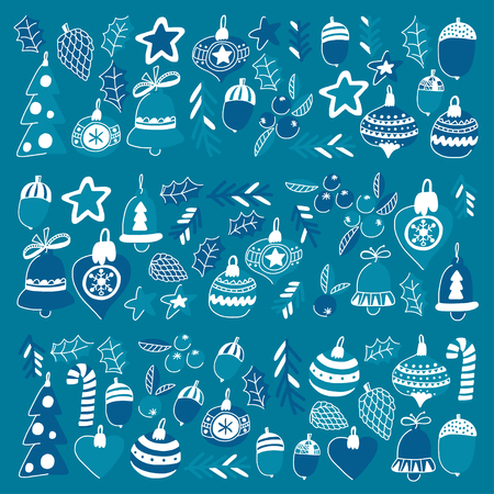 Blue christmas patterns with christmas bells, snowflakes, candy Holly jolly Merry Christmas and Happy New Year. Illustration
